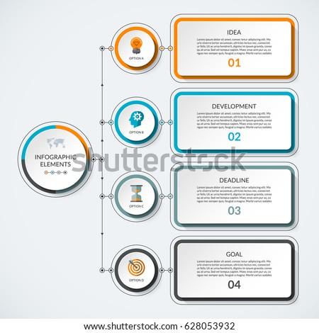 infographic template 4 option circles tabs のベクター画像素材