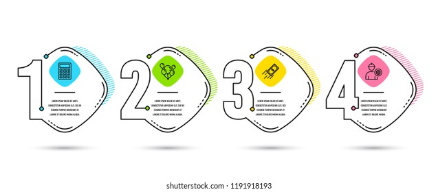 Infographic template 4 options or steps. Set of Fast payment, Balloons and Calculator icons. Engineer sign. Finance transfer, Air balloons, Accounting device. Worker with cogwheel. Vector
