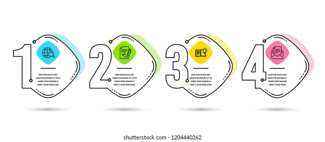 Infographic template 4 options or steps. Set of Product knowledge, Internet search and Approved agreement icons. Mail correspondence sign. Education process, Web finder, Signature document. Vector