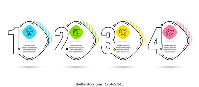 Infographic template 4 options or steps. Set of Head, Skin condition and Face declined icons. Mint leaves sign. Profile messages, Search magnifier, Identification error. Mentha herbal. Vector