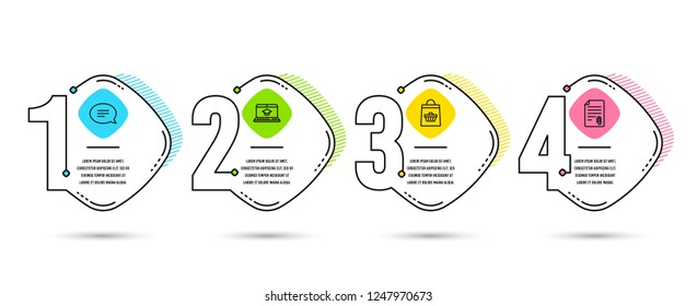 Infographic template 4 options or steps. Set of Chat, Website education and Online buying icons. Attachment sign. Speech bubble, Video learning, Shopping cart. Attach file. Vector