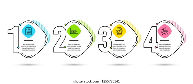 Infographic template 4 options or steps. Set of Investment graph, Phone survey and Report document icons. Idea sign. Investment infochart, Mobile quiz test, Page with charts. Creative message. Vector