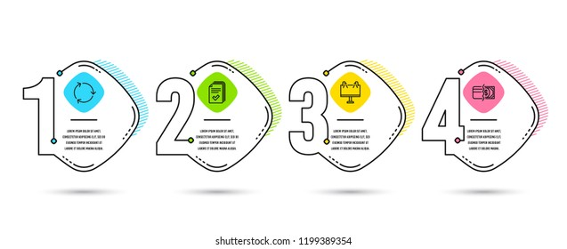 Infographic template 4 steps timeline. Set of Handout, Road banner and Recycling icons. Payment methods sign. Documents example, Advertisement. Credit card. Timeline Vector