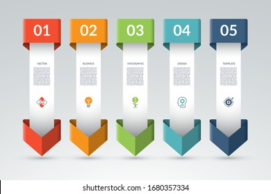 Infographic template with 5 arrows pointing down. Can be used for diagram, graph, chart, report, web design. Vector illustration