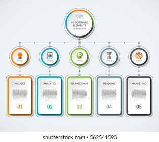 Infographic template with 5 option circles and columns. Modern minimalistic vector banner what can be used as chart, diagram, graph, table, workflow layout for web, report, business presentation