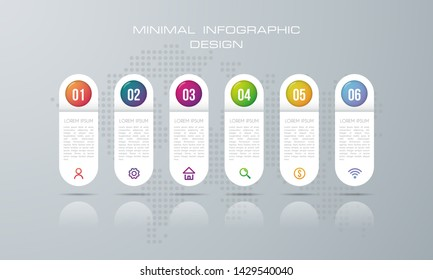 Infographic template with 6 options, workflow, process chart,Timeline infographics design vector can be used for workflow layout, diagram, annual report, web design, steps or processes. - Vector