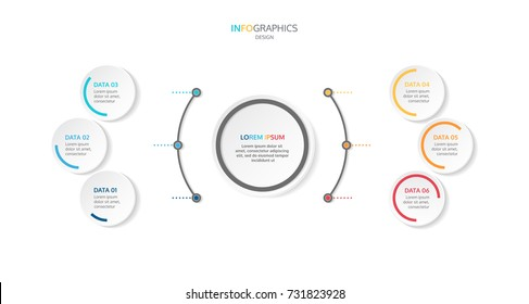 Infographic template with 6 steps or options, workflow, process diagram,presentation. vector eps10 illustration