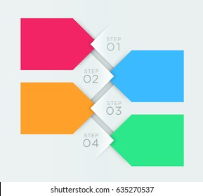 Infographic Template With Arrow Point Steps 1 to 4 B