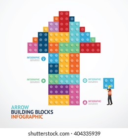 Infographic Template with arrow shape building blocks banner . concept vector illustration