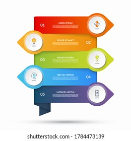 Infographic template with arrows pointing in opposite directions and circular elements, buttons. Business concept with 5 options, steps. Can be used as diagram, graph, chart, timeline, workflow layout