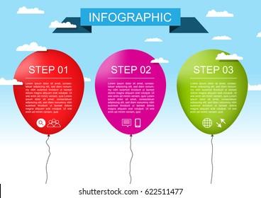 Infographic template balloon style vector design