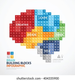 Infographic Template with Brain shape building blocks banner . concept vector illustration