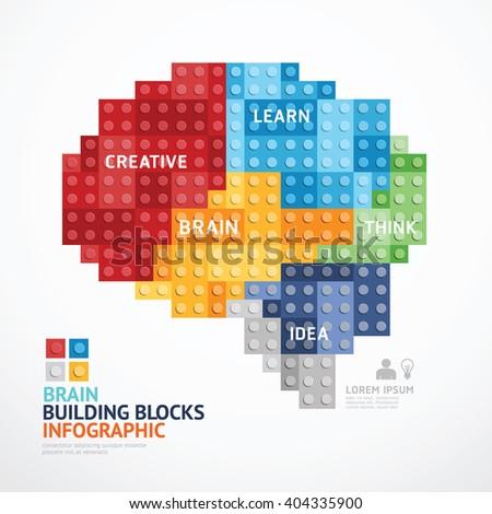 infographic template brain shape building blocks stock vector