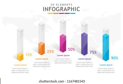 Infographic template for business. 3d elements with tubes, presentation vector infographic.