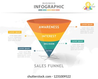 Infographic template for business. 4 Steps Modern Sales funnel diagram, presentation vector infographic.