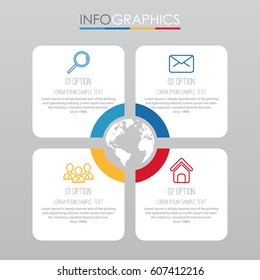Info-graphic Template for Business with 4 steps multi-color, labels. Vector info-graphic element.