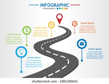 Infographic template for business with 5 steps. Road journey concept, Roadmap process diagram. Vector infographic.