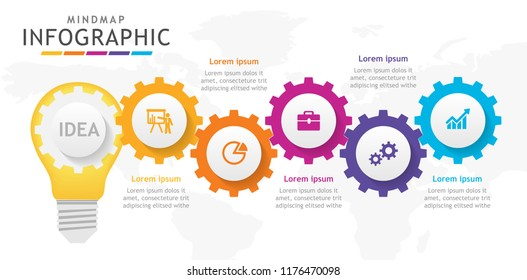 Infographic template for business. 5 steps Mindmap diagram with light blub and cogs, presentation vector infographic.