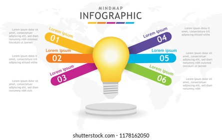 Infographic template for business. 5 steps Mindmap diagram with light blub, presentation vector infographic.