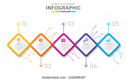 Infographic template for business. 5 Steps Modern Mindmap diagram circuit, presentation vector infographic.