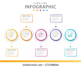 Infographic template for business. 5 Steps Modern Timeline diagram with circles.