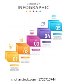 Infographic template for business. 5 Steps Modern Mindmap diagram with boxes, presentation vector infographic.