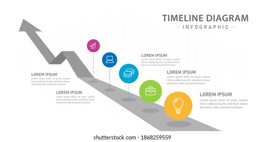 Infographic template for business. 5 steps Modern Timeline diagram with roadmap, presentation vector infographic.