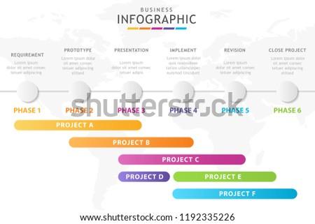 Infographic Template Business 5 Steps Gantt Stock Vector Royalty