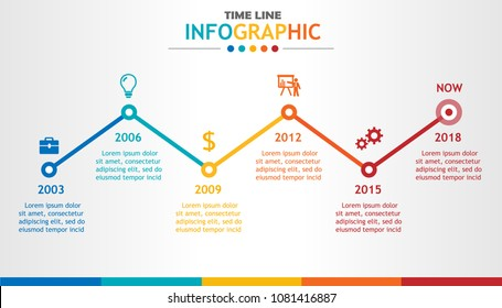 Infographic template for business with 6 steps. Timeline diagram, Roadmap process chart. Vector infographic.