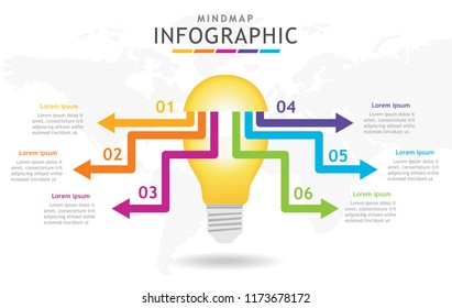 Infographic template for business. 6 steps Mindmap diagram with light blub, presentation vector infographic.