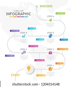 Infographic template for business. 6 steps Modern Timeline diagram, presentation vector infographic.
