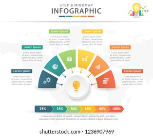 Infographic template for business. 6 Steps Modern Mindmap and Timeline diagram, presentation vector infographic.