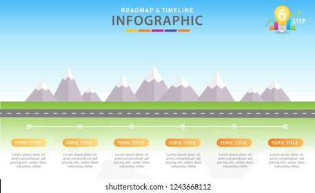 Infographic template for business. 6 Steps Modern Timeline diagram with mountains, presentation vector infographic.