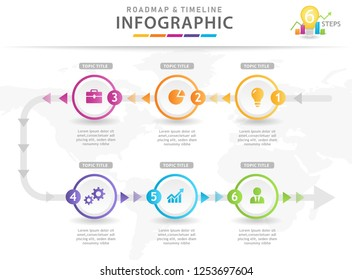 Infographic template for business. 6 Steps Modern Timeline diagram with arrows, presentation vector infographic.