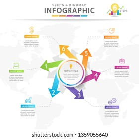 Infographic template for business. 6 Steps Modern Mindmap diagram with arrows, presentation vector infographic.