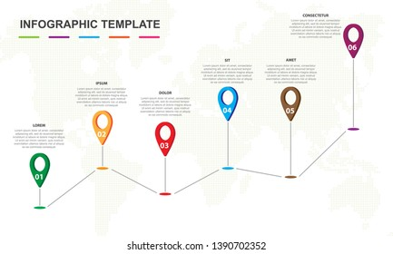 Infographic template for business. 6 steps pin map Timeline diagram, presentation vector infographic.