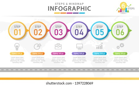 Infographic template for business. 6 Steps Modern Mindmap diagram, Road journey concept. presentation vector infographic.