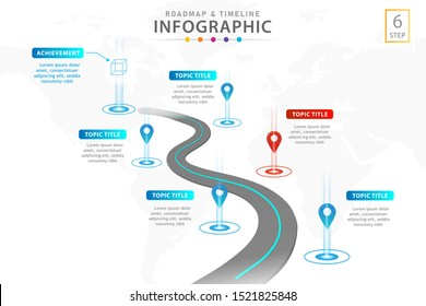 Infographic template for business with 6 steps, road journey concept. Roadmap diagram. Vector infographic.