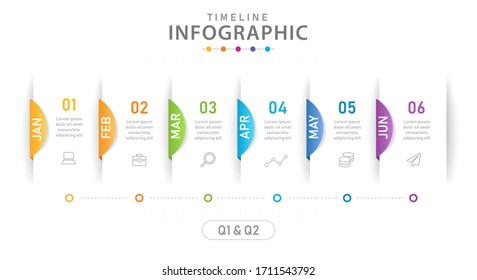 Infographic template for business. 6 Steps Modern Timeline diagram calendar with quarter, presentation vector infographic.