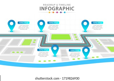 Infographic template for business. 6 Steps Modern Timeline diagram with city roadmap concept, presentation vector infographic.