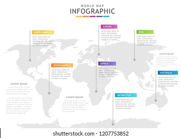 Infographic template for business. 7 Continents Modern World map diagram, presentation vector infographic.