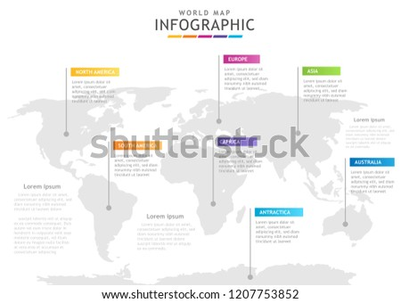 infographic template business 7 continents modern stock vector