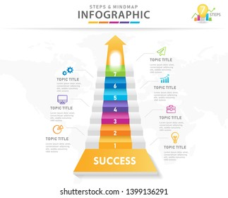 Infographic template for business. 7 Steps Modern Mindmap diagram with 3D Stairs, presentation vector infographic.