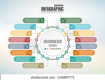 Infographic template for business.  abstract banner element.  16-step concept. can be used web design or presentation.  vector illustration background