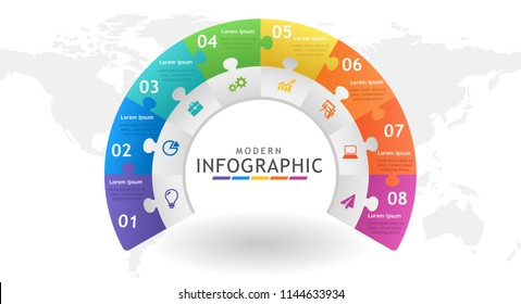 Infographic template for business. Circle abstract diagram with steps, connected jigsaw pieces. presentation vector infographic.
