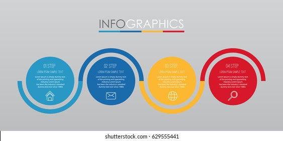 Info-graphic Template for Business with four steps multi-Colours design, labels design, Vector info-graphic element, Flat style vector illustration EPS 10.