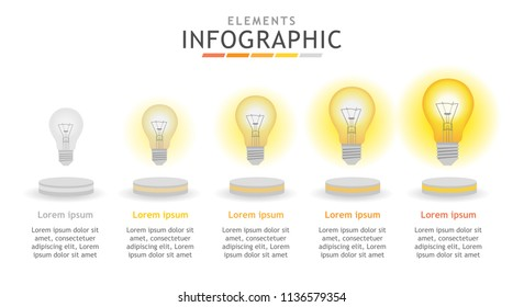 Infographic template for business. Light blub growing by step. presentation vector infographic.