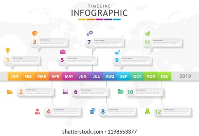 Infographic template for business. Modern Timeline diagram calendar 2019, presentation vector infographic.