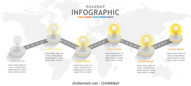 Infographic template for business. Roadmap diagram with light bulb concept. Presentation vector infographic.