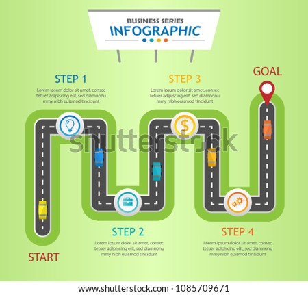 infographic template business roadmap diagram 5 stock vector